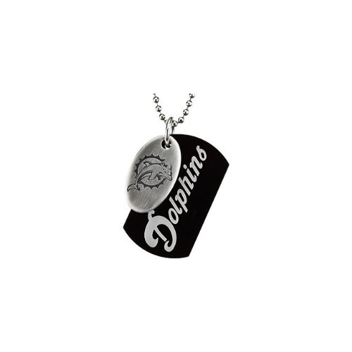 76 St Steel 45mm Miami Dolphins NFL Football Team Jewelry Men 2 Dog Tag W/Chain