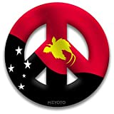Peace Symbol Window Cling of Papua New Guinea Flag