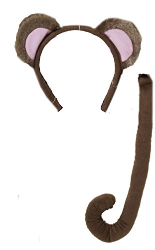 [71198 (One Size) Monkey Ears & Tail Set] (Mouse Ears And Tail Costumes)