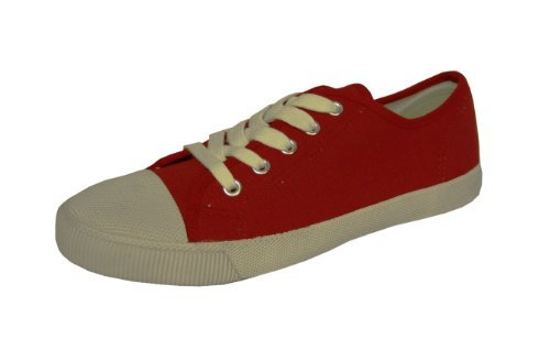 Boys Red Canvas Lace Up Trainers Pumps Size 4 Kids Style 010