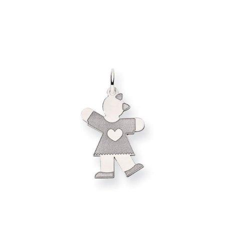 14k White Gold Girl Dress Heart Love Charm Pendant