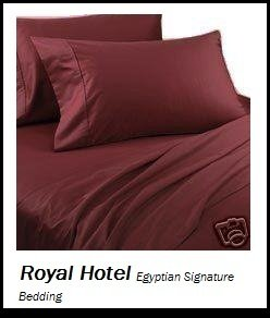 Royal Hotel's Solid Burgundy 800-Thread-Count 4pc King Bed Sheet Set 100-Percent Egyptian Cotton, Sateen Solid, Deep Pocket