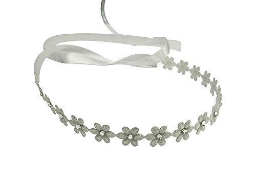 Flower Headband with Swarovski Crystals, Baby Girls, Photography, Toddlers, Flower Girls, White