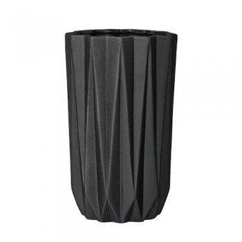 Vase in Faltoptik schwarz