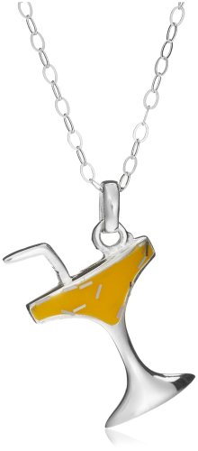 Jo For Girls Silver Yellow Enamel Sparkle Cp76 Celebration Glass Pendant on Chain