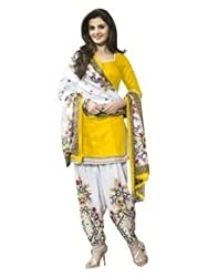 Craftliva Yellow & Off White Printed Polly Cotton Dress Material