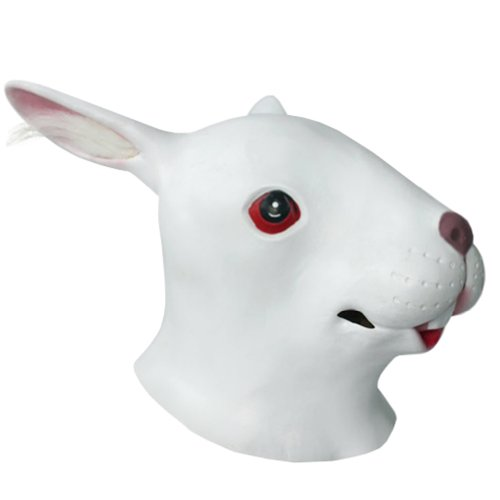 KingMas White Adult Rabbit latex Mask Halloween Costume - Animal Masks