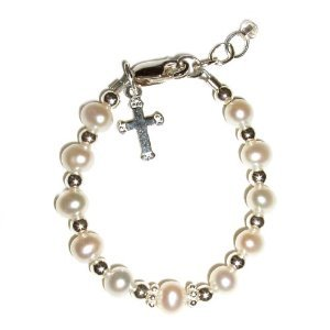 Kaitlyn Sterling Silver Childrens Girls Bracelet Childrens freshwater pearls, silver beads and a simple dangling silver cross Size Medium 1-5 Years
