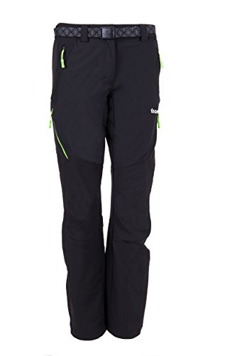 Izas Stretch Birham - Pantaloni tecnici da donna, Donna, Birham, Negro / Verde Claro, M