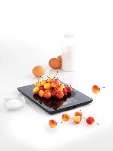 Mastrad F76600 Balance Culinaire Verre Trempé/Plastique Noir 23 x 17 x 1,5 cm