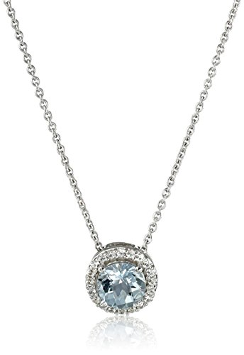 Sterling Silver Checkerboard Round Aquamarine and Created White Sapphire Pendant Necklace, 18″