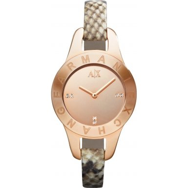 Armani Exchange Rose Gold-Tone Stainless Steel Python-Stamped Leather Ladies Watch AX4129