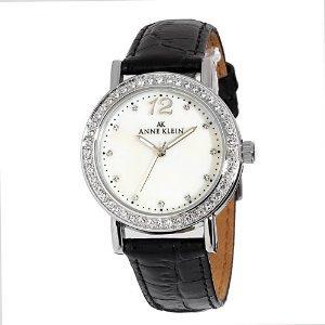 AK Anne Klein Women's 109189MPBK Swarovski Crystal Accented Silver-Tone Black Leather Watch