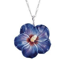 Franz Porcelain Blue rose of Sharon flower Rhodium plated brass & porcelain necklace
