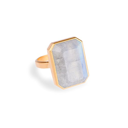 Ringly Bluetooth Connected Smart Ring- Gold / Rainbow Moonstone
