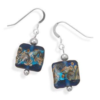 Sterling Silver Multicolor Glass Bead Earrings