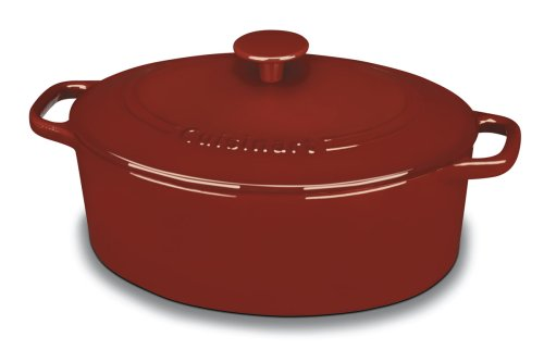 Cuisinart CI755-30CR Chef's Classic Enameled Cast Iron 5-1/2-Quart Oval Covered Casserole, Cardinal Red (Oval Enamel Cast Iron compare prices)