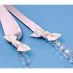 Beverly Clark Collection Love Knot Crystal Cake Knife and Server Set, Ivory