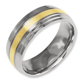 Genuine IceCarats Designer Jewelry Gift Titanium Ridged Edge 14K Gold Inlay 8Mm Brushed And Polished Band Size 13.00