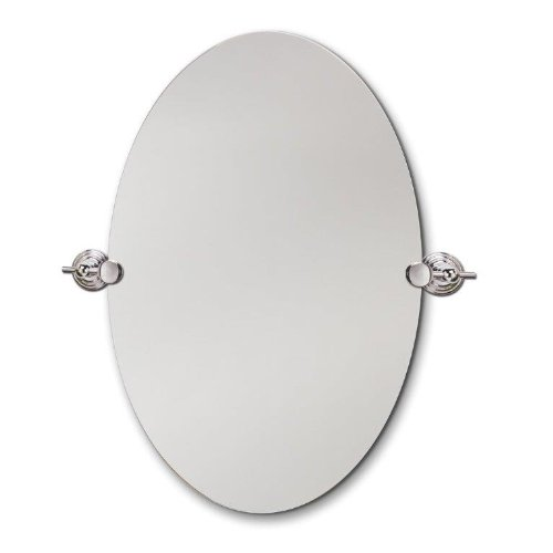 Head West Beveled Oval Chrome Swivel Mirror, 22 By 28-Inch