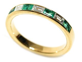 18k Yellow Gold Natural Emerald & Diamond Ring Size 6 Ct.tw 0.55
