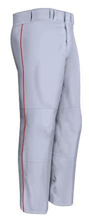 Easton Men's Quantum Plus Baseball Pants with Piping (Grey/Red, X-Small)