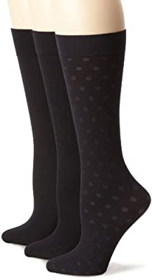 Nine West Women's Cable Solid And Dot Trouser 3 Pair Sock