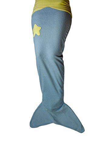 Meerjungfrauen-Decke für Kinder aus weichem Fleece hellblau gelb von Ringelsuse