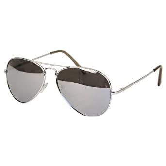 Aviator Sunglasses Mirror Lens Silver Metal Frame 01