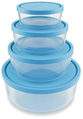 Bormioli Rocco 388480SB4021990 Frigoverre Round Glass Food-Storage Containers with Frosted Lids, Set of 4