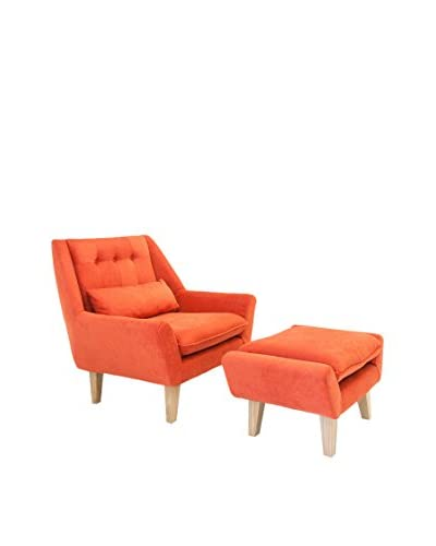 Kardiel Stuart Mid-Century Modern Lounge Chair and Ottoman, Coral