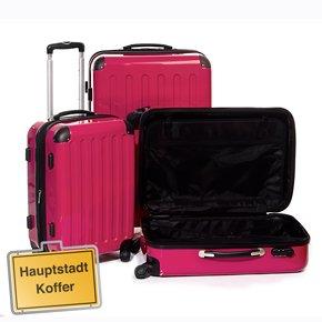 3er Kofferset Trolleys Hartschale pink-Hochglanz