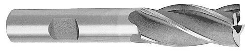 Drill America DWCF Series High-Speed Steel End Mill, Polished Finish, 4 Flute, Square End, 9/16 Cutting Length, 7/32 Cutting Diameter, 2-1/2 Length, 3/8 Shank (Pack of 1)