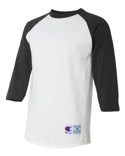 Champion Men's Tagless Baseball Raglan T-Shirt, white/black, Small