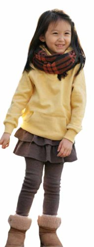 Simplicity Girls Fall Legging Stretchy Waist Pants Flouncing Tiered, Coffee front-959637