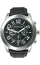 Michael Kors Mercer Chronograph Black Dial Leather Strap Mens Watch MK8288