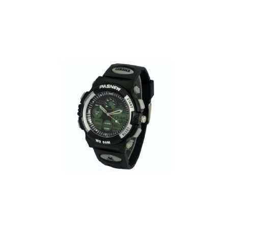 Pasnew Dual Movement Led Digital 50M Waterproof Outside Sports Watch For 10-20 Years Olds Boys Girls 048B N3 Black Color