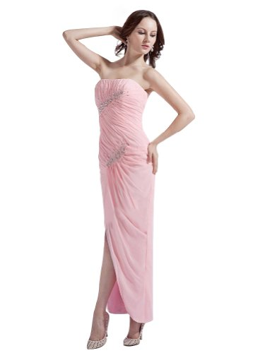 Remedios Boutique Strapless Chiffon Sheath Ankle Length Formal Evening Bridesmaid Dress, Pink, S8