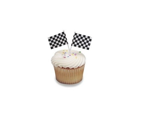 Checkered Flag Racing Cupcake Picks - 48 pcs - 1
