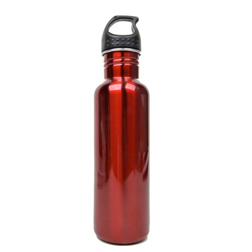 Stainless Steel Water Bottle Canteen - Single Pack - Candy Apple Red front-611243