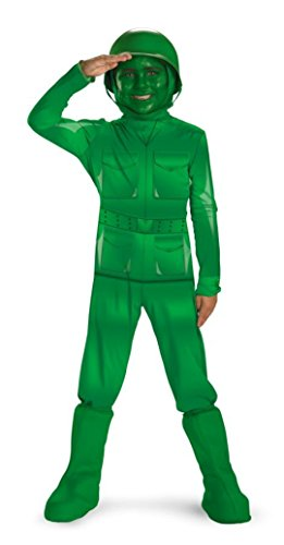 Boys Green Army Man Deluxe Kids Child Fancy Dress Party Halloween Costume