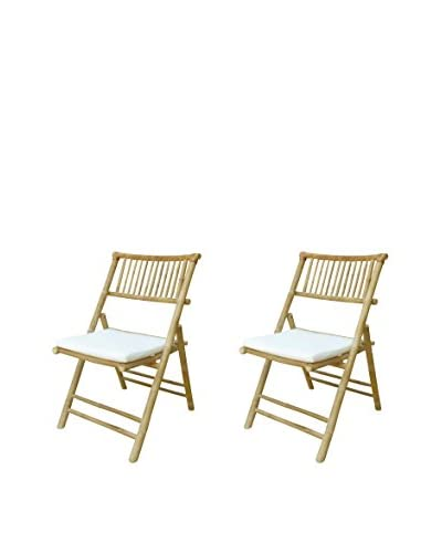 ZEW, Inc. Set of 2 Cushioned Bamboo Collapsible Chairs, White