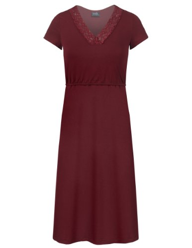Milk Nursingwear Lace Trim Nursing & Maternity Nightgown-Xl-Wine
