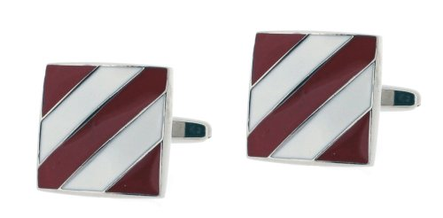 Code Red Base Metal Rhodium Plated Square Cufflinks with Red and White Enamel Diagonal Stripe