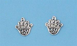 Sterling Silver Hamsa/Hand of Fatima Stud Earrings