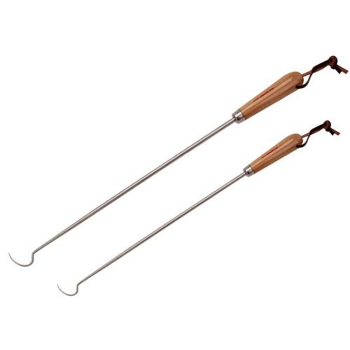 """Jaccard Original Pig Tail Food Flipper Combo Pack with Wooden Gift Box, 12""""/19"""", Stainless Steel"""
