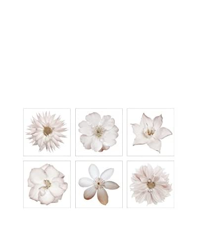 Art Addiction White Flower Collage Set of 6, Multi, 15.75″ x 15.75″
