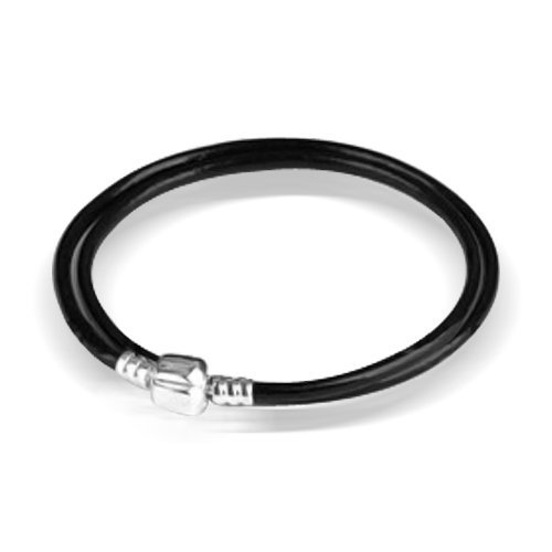 Bling Jewelry Black Leather 925 Sterling Silver