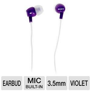 Sony Lightweight In Ear Deep Bass Sound Isolating Stereo Earbud Headphones With 3-Button Remote/Mic Compatable With Smartphones, Apple Ipod/Iphone, Mp3 Players, Cd Players, Laptops, And More, Violet