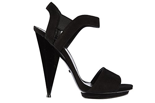 Gucci sandali donna con tacco camoscio kyd nero EU 40 347558 CGYV0 1000